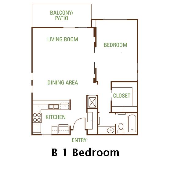 1 Bedroom 1 Bath (B) Floorplan