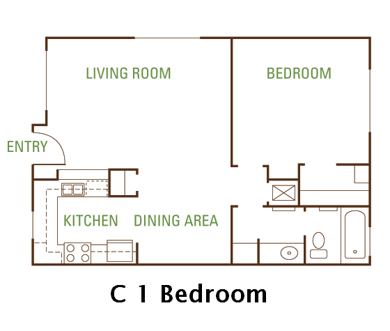 1 Bedroom 1 Bath (C) Floorplan