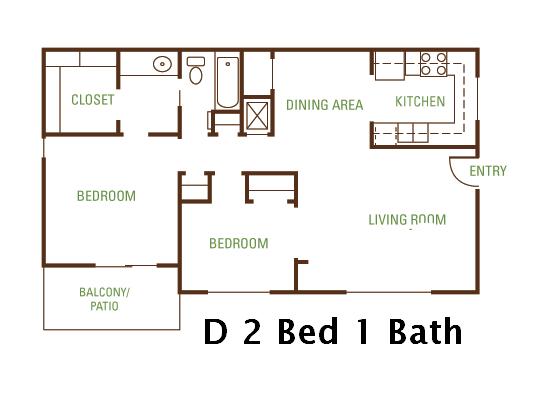 2 Bedroom 1 Bath (D) Floorplan