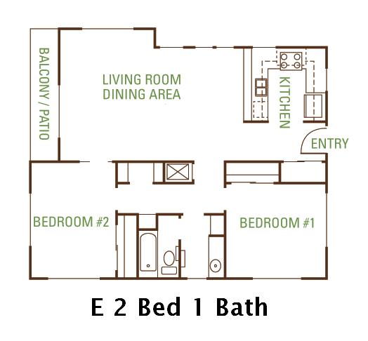 2 Bedroom 1 Bath (E) Floorplan