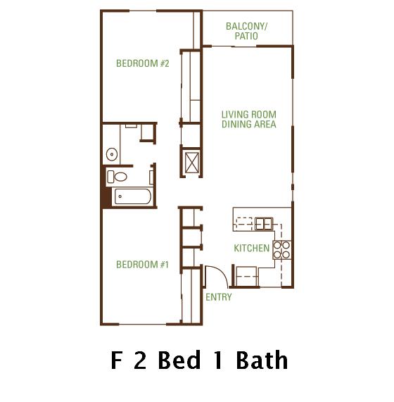 2 Bedroom 2 Bath (F) Floorplan