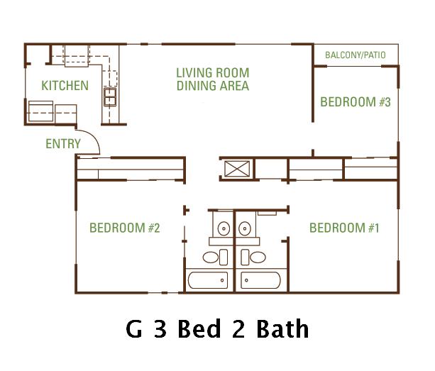 3 Bedroom 2 Bath (G) Floorplan