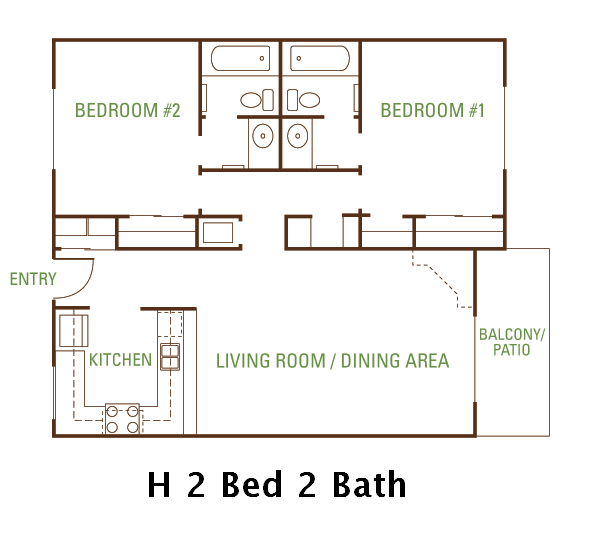 2 Bedroom 2 Bath (H) Floorplan