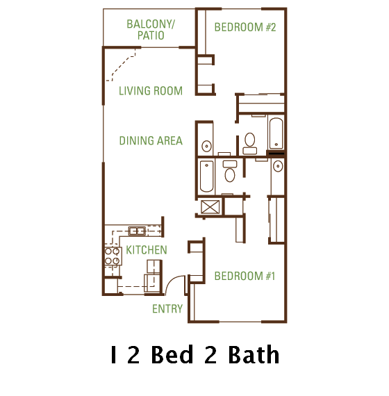2 Bedroom 2 Bath (I) Floorplan