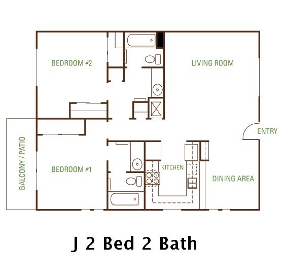 2 Bedroom 2 Bath (J) Floorplan
