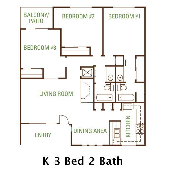 3 Bedroom 2 Bath (k) Floorplan