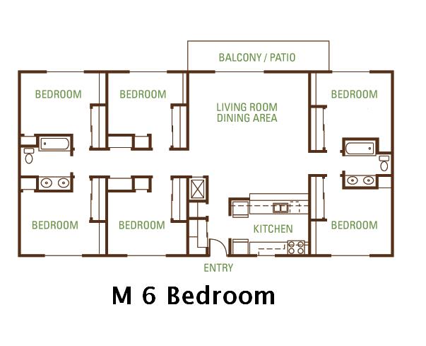 6 Bedroom 2 Bath (M) Floorplan